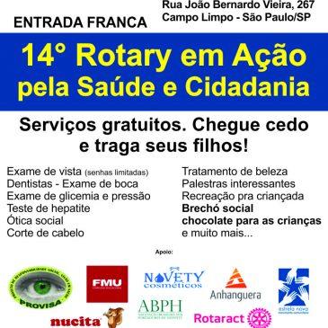 Convite para participar do 14° Rotary em Ação – Domingo, dia 11/novembro, das 9h às 13h na ONG Estrela Nova (Campo Limpo)