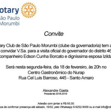 Convite para visita oficial de governador de Rotary – dia 18/02/2019, às 20h