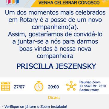 Convite para participar da posse de nova companheira do Rotary Morumbi