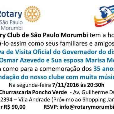 Convite para festa do 35 aniversário do Rotary Morumbi com visita do governador de Rotary