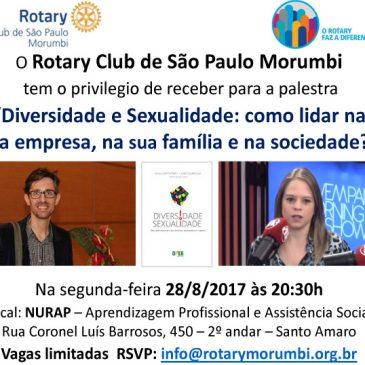 Convite para palestra Diversidade e Sexualidade: como lidar na sua empresa, na sua família e na sociedade